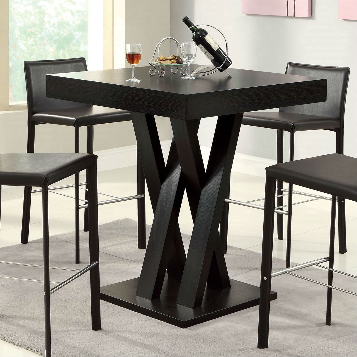 Modern 40 Inch High Square Dining Table In Dark Cappuccino Finish