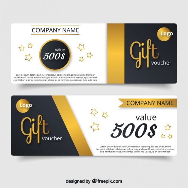 Elegant gift voucher with golden details and stars Free Vector - design gift vouchers free