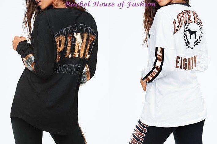 1e8378ada82c8 44.95 | Victoria's Secret PINK SEQUIN BLING VARSITY V-NECK LONG SLEEVE TEE  NEW