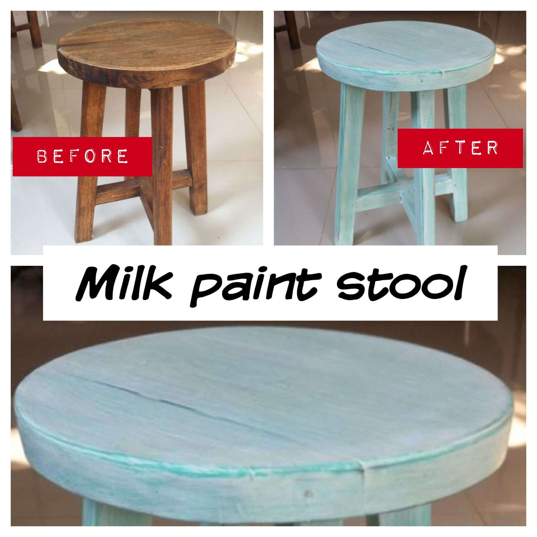 Milk paint stool | My project done | Pinterest | Painted stools