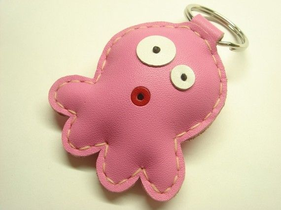 Cookie the Octopus Leather Keychain  Pink  by leatherprince, $18.90
