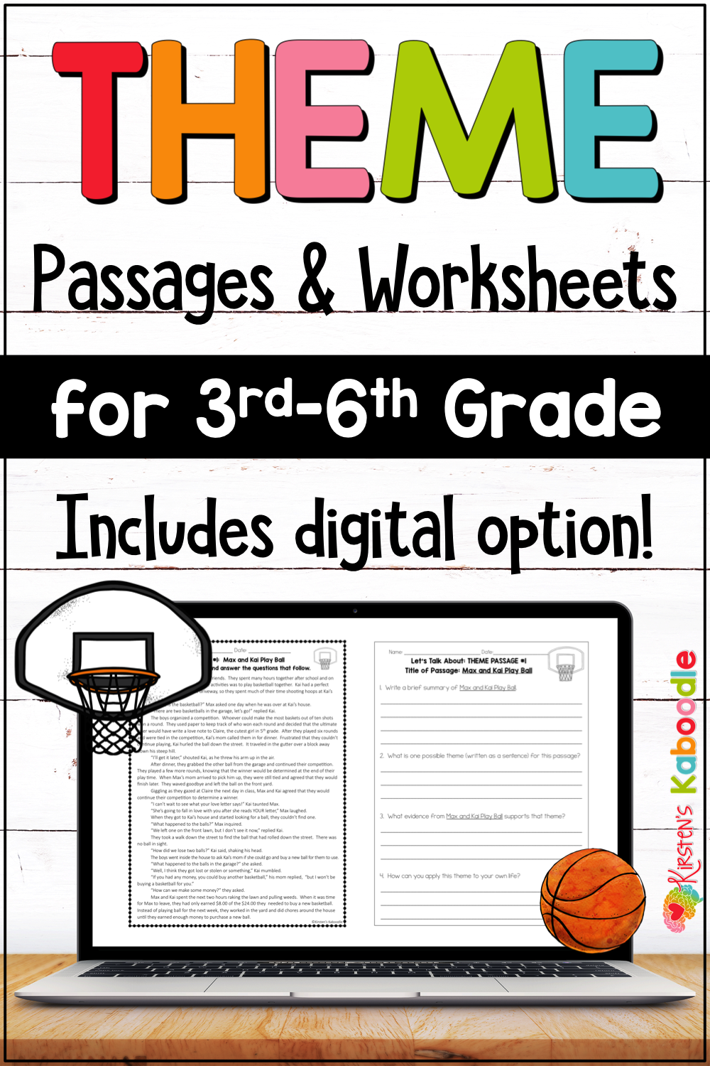 Teaching Theme Reading Passages and Worksheets for 3rd [ 1500 x 1000 Pixel ]