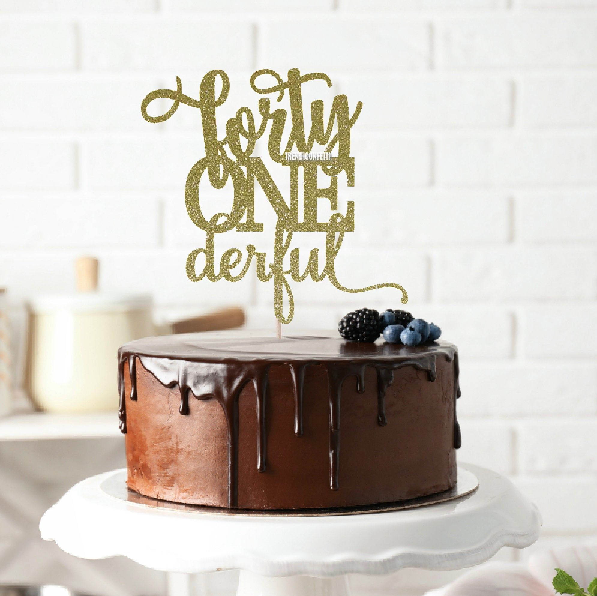 Forty Onederful Cake Topper Birthday Cake Topper Forty One Cake