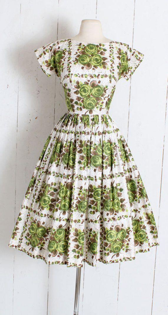 08d1d0647e7c Vintage 1950s Dress | vintage 50s green rose print novelty cotton ...
