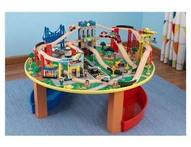 KidKraft City Explorer Wooden Train Set U0026 Play Table W/ 80 Toy Pieces