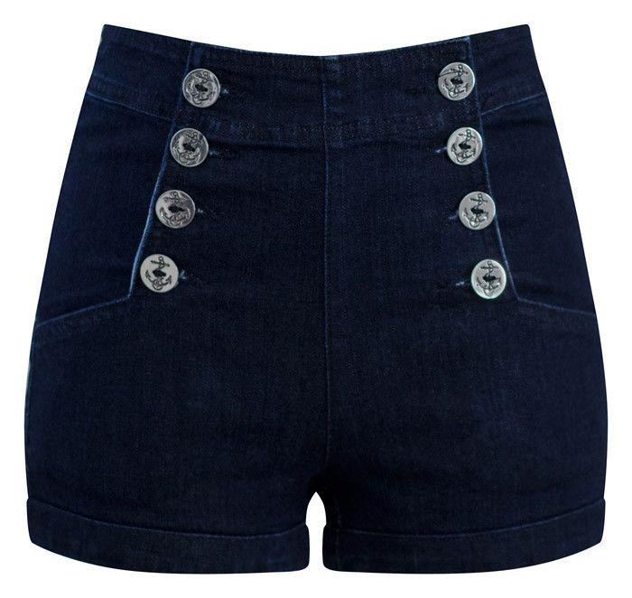 High Waist Sailor Girl Dark Denim Shorts with Anchor Buttons ...