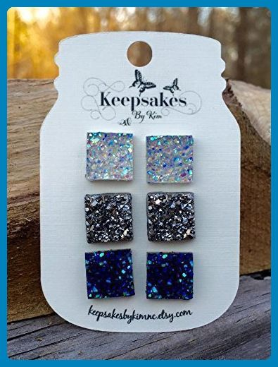 Square Faux Druzy Stud Earrings in Clear Gunmetal Grey and Peacock