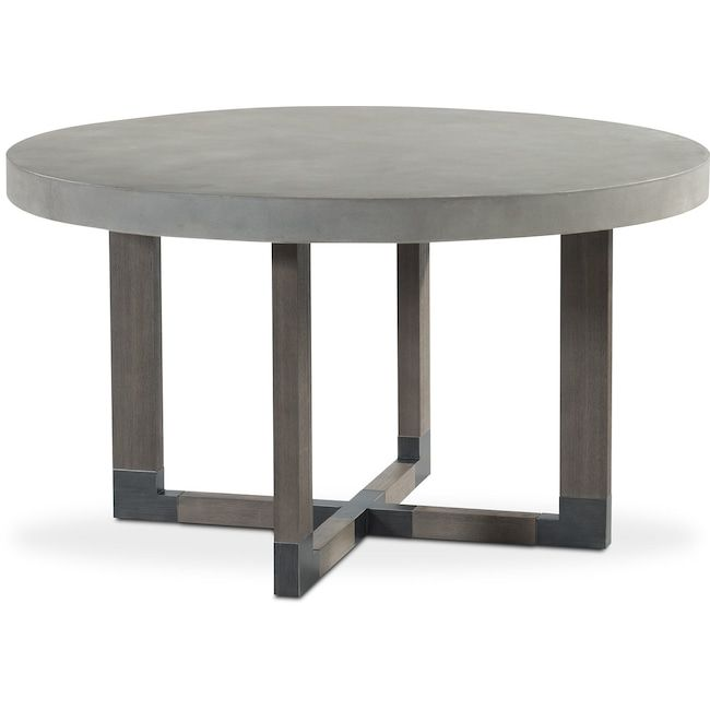 Dining Room Furniture Malibu Round Concrete Top Table Gray