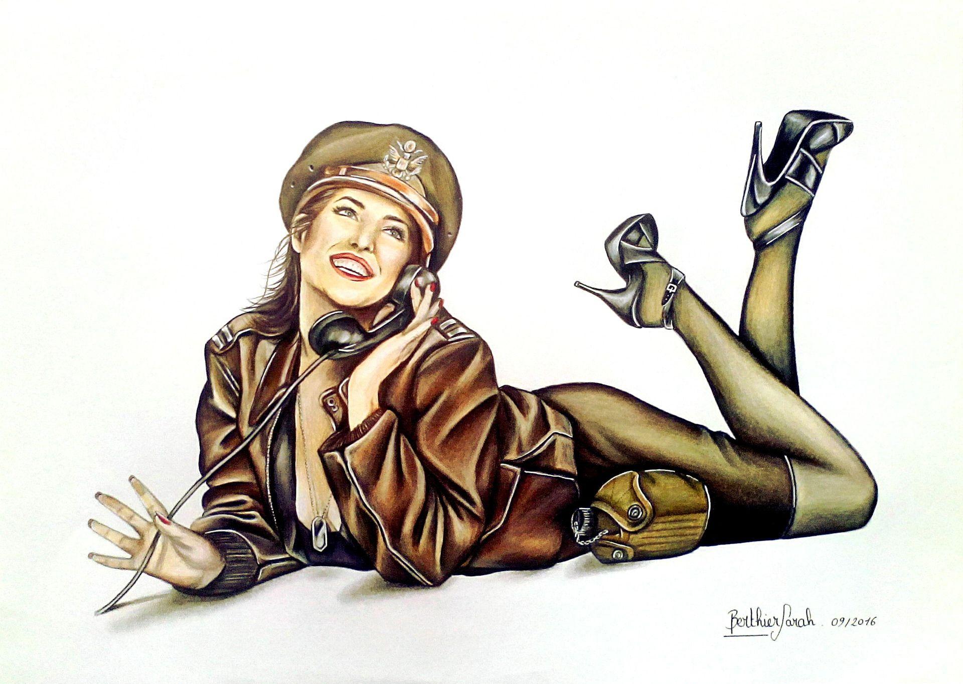 dessin r tro femme pin up sensuelle militaire vintage aux crayons de couleurs dessins par. Black Bedroom Furniture Sets. Home Design Ideas