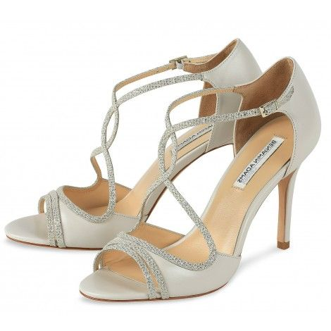 Megan By Benjamin Adams Ivory Leather And Champagne Mesh Designer Wedding Or Occasion Shoes