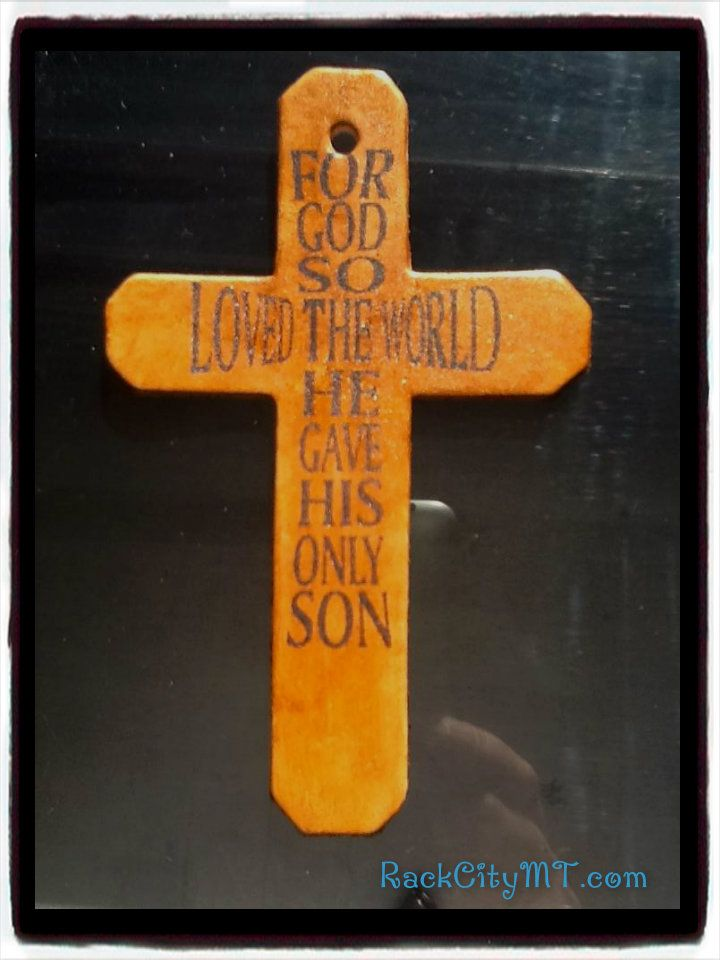 """Genuine leather purse or saddle cross """"For God so Loved the World..."""" Precision laser etched then hand stained and glazed.  Available for only 6.99 at www.RackCityMT.com #shopsmall #supportsmallbiz #montana #genuine #leather #cross"""