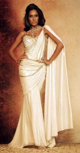 white saree #saree #india #indian  Designer: Tarun Tahiliani