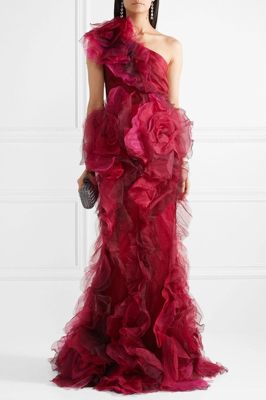 Porter red organza y de A com de de hombro seda un traje con MarchesaTul A71wTqxF1