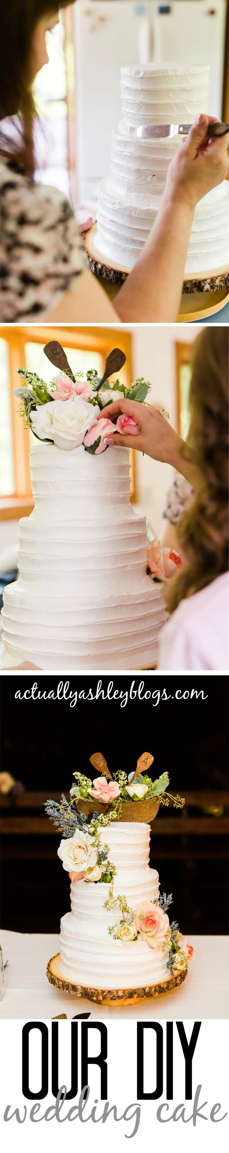 Classic wedding cake design with cascading floral cake decor. Rustic features like a homemade wood canoe cake topper, and raw wood slice cake stand combine a classic wedding cake with DIY rustic flair.