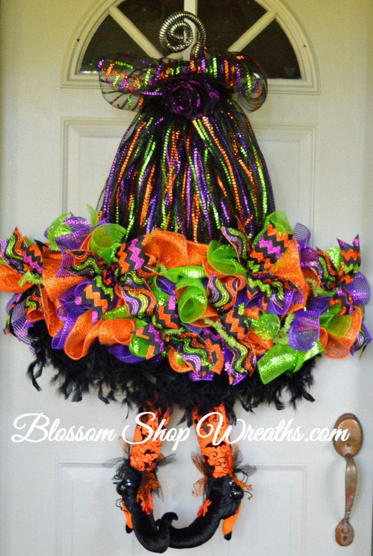 deco mesh wreath, witch hat wreath, halloween wreath, halloween