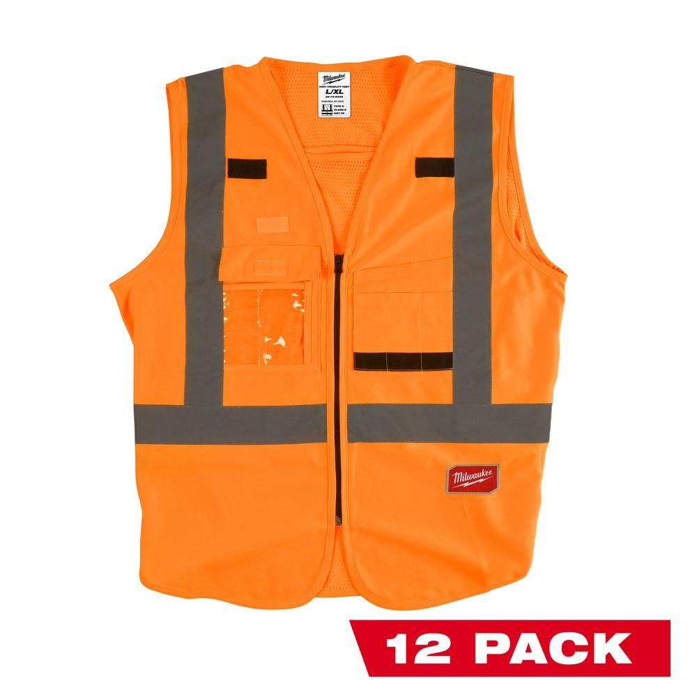 Milwaukee 2x Large 3x Large Orange Class 2 High Visibility Safety Vest 12 Pack Adult Unisex Vest Safety Milwaukee