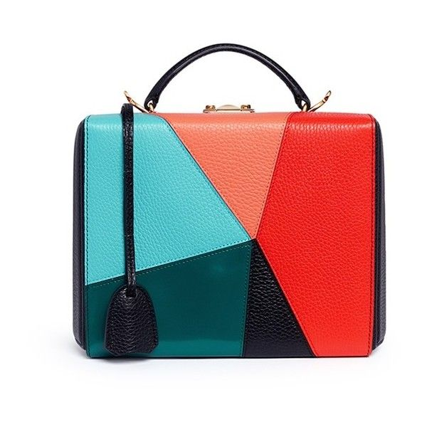 Mark Cross 'Grace Large Box' kaleidoscope patchwork leather trunk ($2,335) ❤ liked on Polyvore featuring bags and luggage