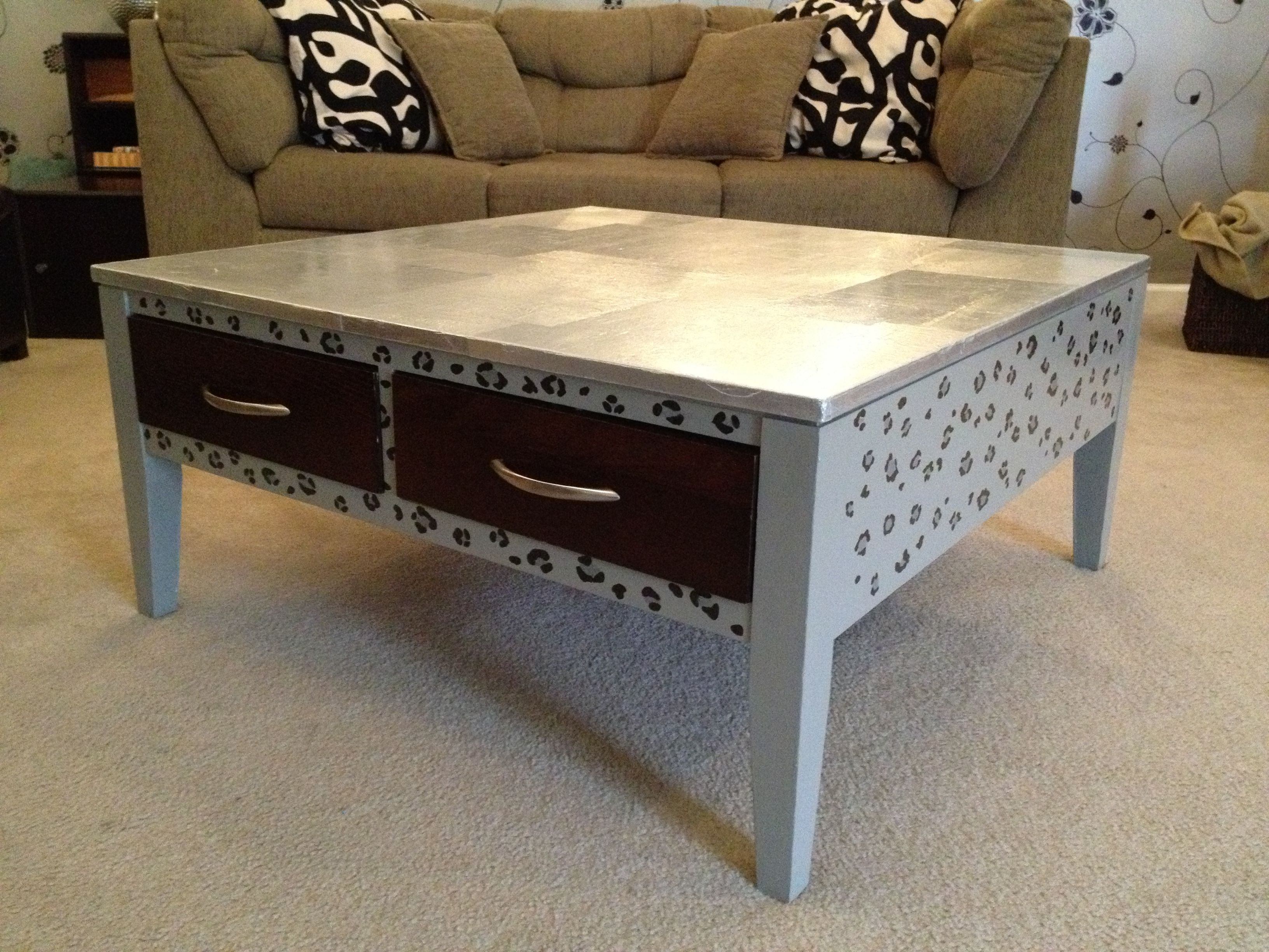 Diy aluminum foil coffee table top paint furniture upcycled diy aluminum foil coffee table top geotapseo Gallery