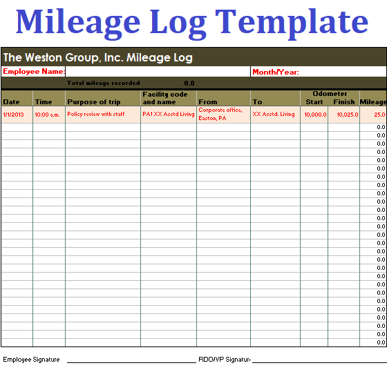 Mileage Log Templates  Logtemplate