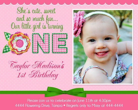 Flower St Birthday Invitation Custom By ShutterbugSentiments - Digital first birthday invitation