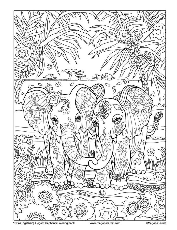 Complicated Elephant Coloring Pages. Elephants love coloring page  Coloring Pages Pinterest Adult