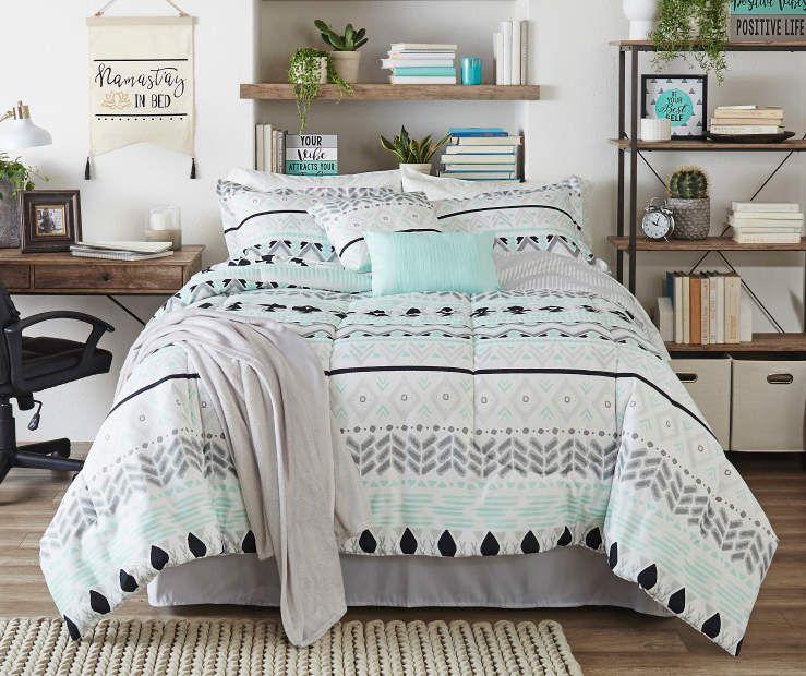 Living Colors Liah Mint Gray Black 12 Piece Comforter Sets At