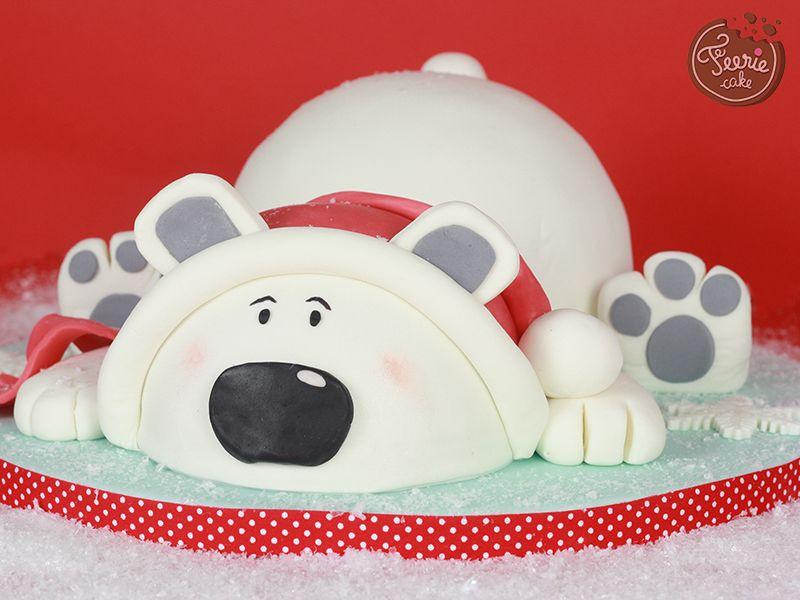 jean-pierre, l'ours blanc de noël !   gâteau 3d   pinterest