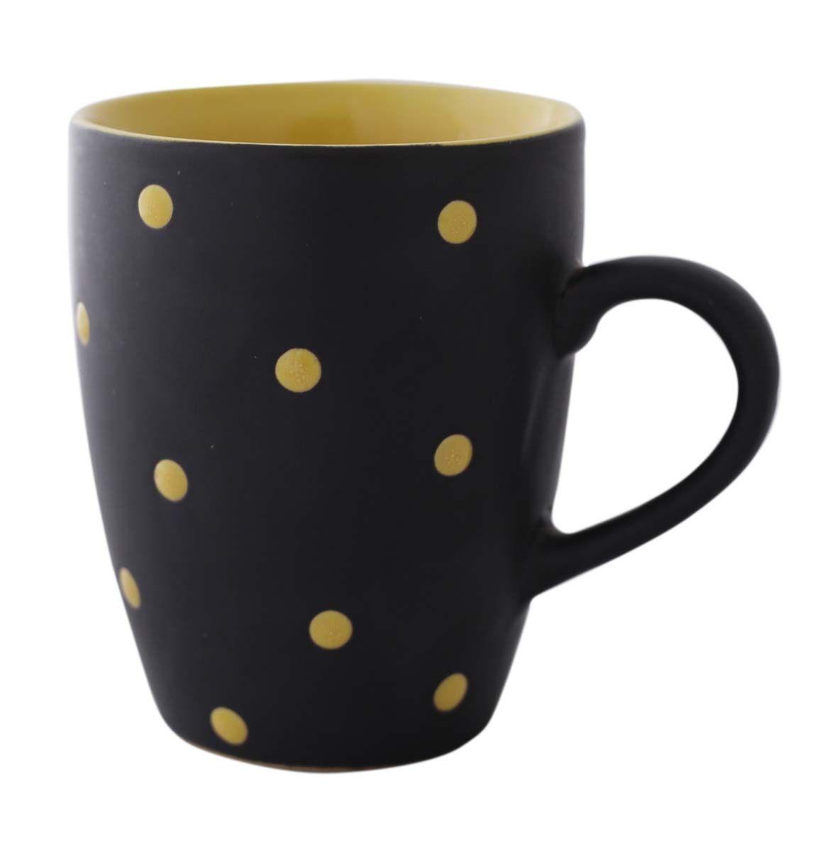 Bulk wholesale black yellow polka dot ceramic coffee mug