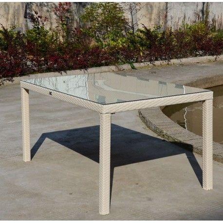 Mesa AZAHAR, aluminio, ratán blanco beige, 150x90 cms
