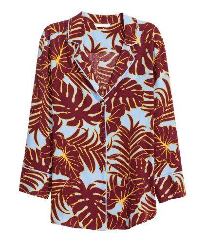 Hellblau/Blätter. Gerade geschnittene Bluse aus weichem, bedrucktem ...