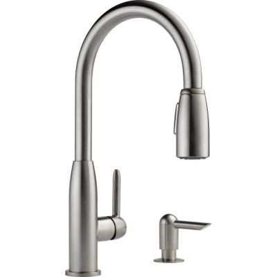 Peerless Apex Integrated Single Handle Pull Down Sprayer Kitchen Faucet In Stainless With Soap Dispenser P188103lf Sssd The Home Depot 15 Faucet Kitchen Handles Stainless Kitchen