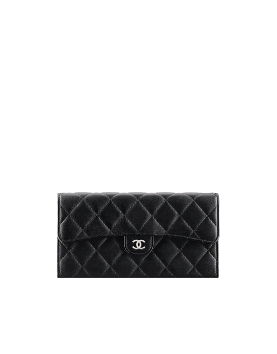 76baeb7be6ba Classic flap wallet, lambskin & silver-tone metal-black & burgundy - CHANEL