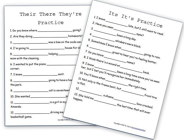 Apostrophe Rules and Practice Sheets – They're/There/Their – Its ...