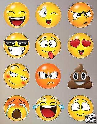 Emoji Faces Wall Decal Stickers Vinyl Emoticon Graphic Phone Decor