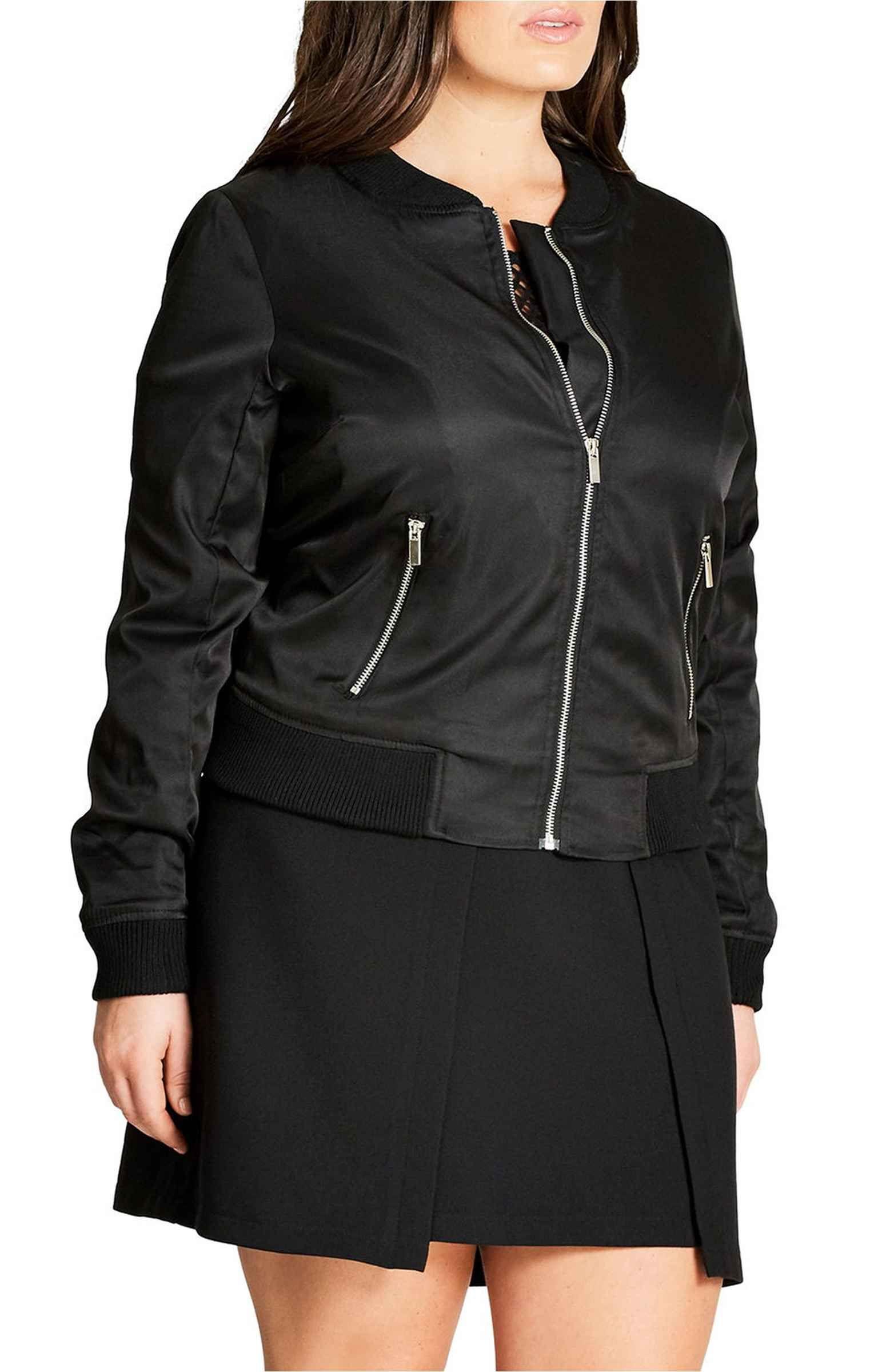 Main Image City Chic Zip Front Bomber Jacket (Plus Size