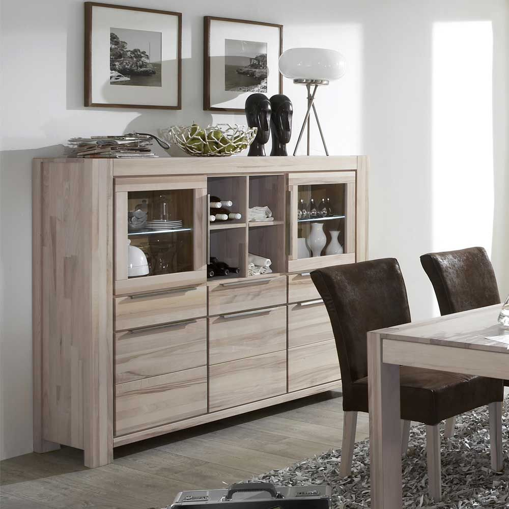 Massivholz Highboard Aus Wildeiche Weiss Geolt Highboard