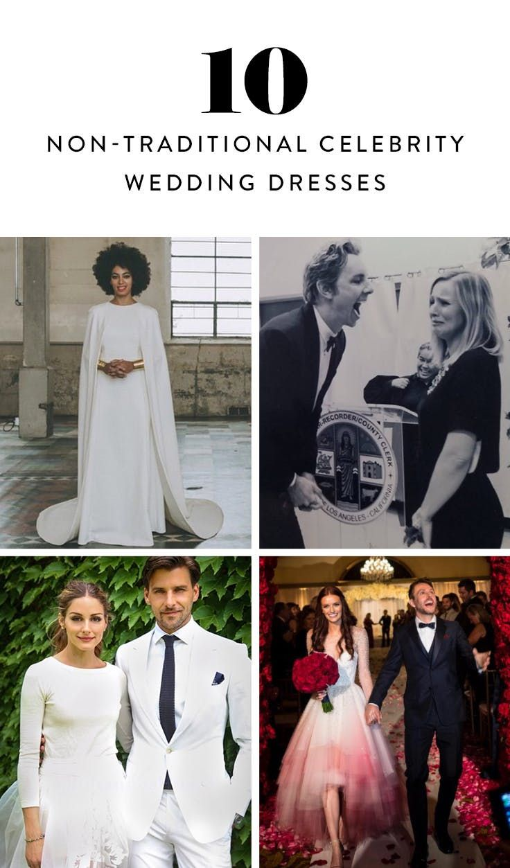 9 Celebs Who Wore Non-Traditional Wedding Dresses—and Looked Amazing  via @PureWow