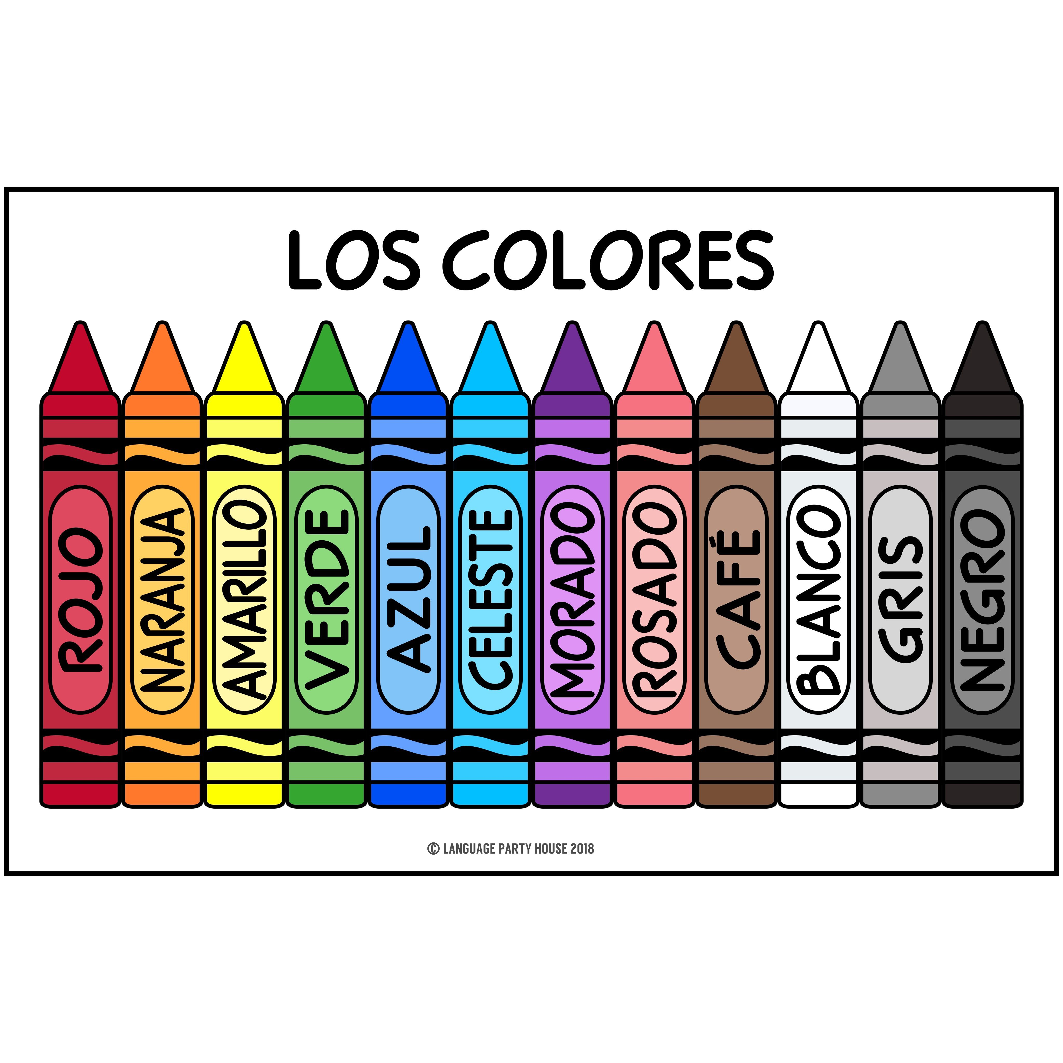 Crayons In Spanish Spanish Colors High Resolution