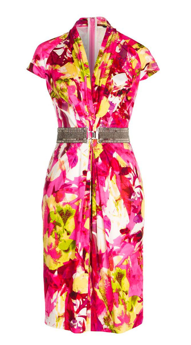 f8d99d605e6a ETCETERA - HIBISCUS | $325 STRETCH COTTON FLORAL PRINT BELTED DRESS ...
