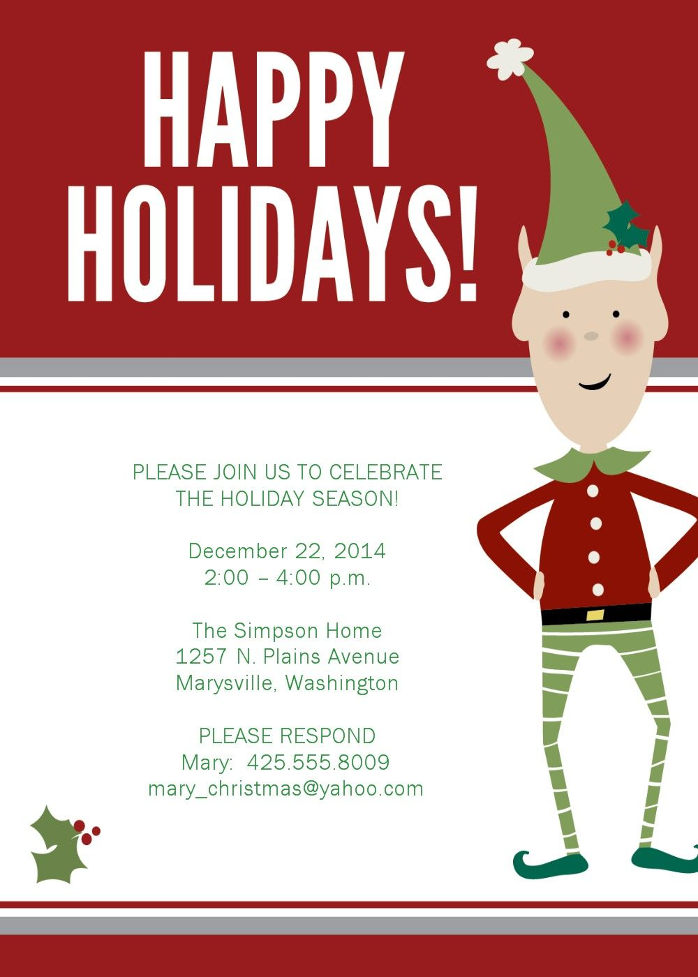 christmas party invitations - Google Search | christmas invites ...