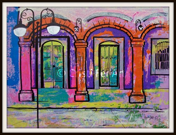 Art Sale Painting of Mexican Doors under arches and street light small Mexican town orange purple pink green original acrylic on paper