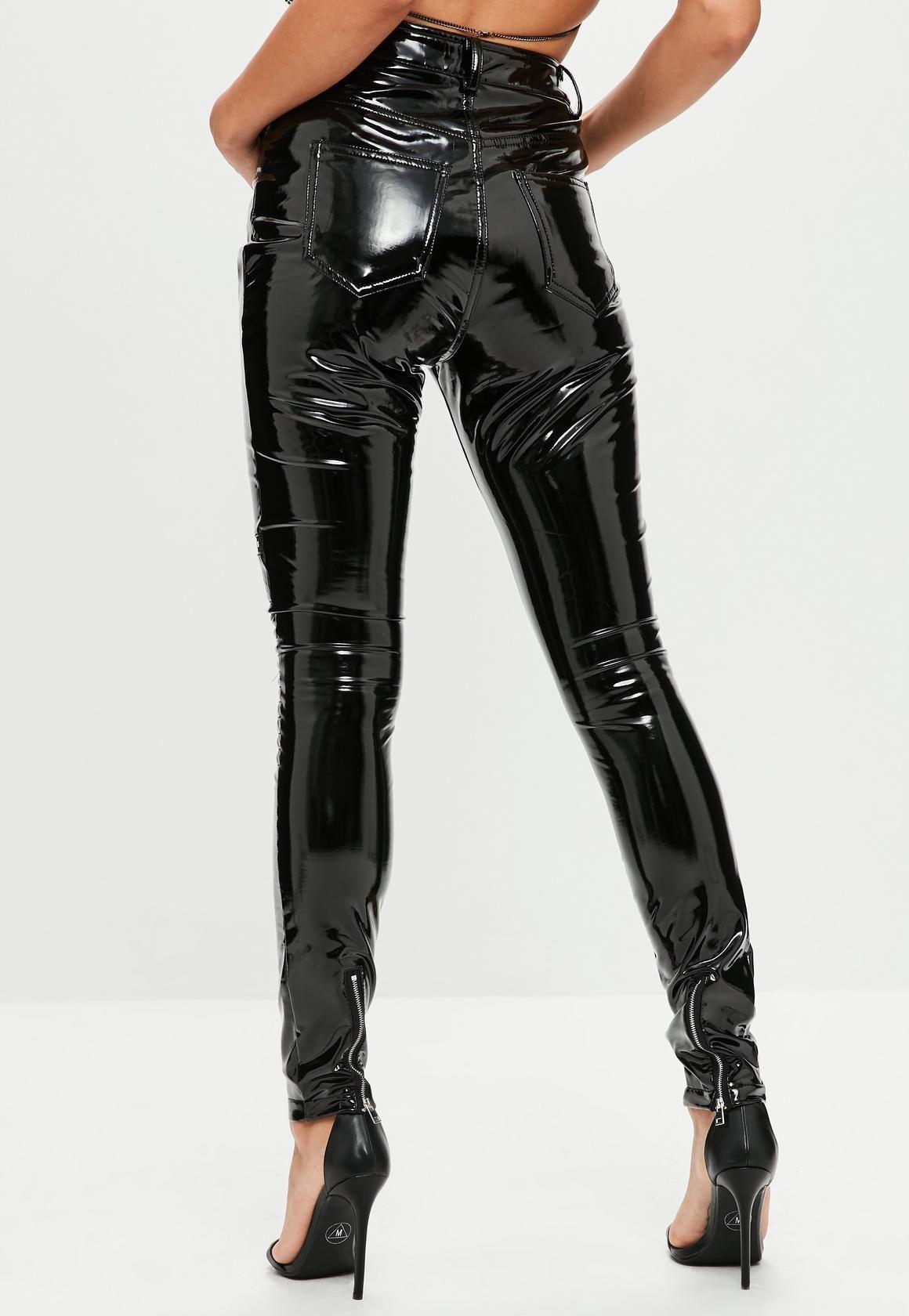 22980de5e5 Missguided - Tall Black Vinyl Biker Pants   michala bday clothes in ...