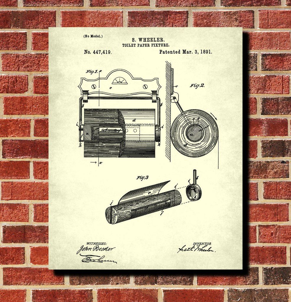 Toilet Paper Holder Patent Print Bathroom Decor Blueprint Art Poster ...