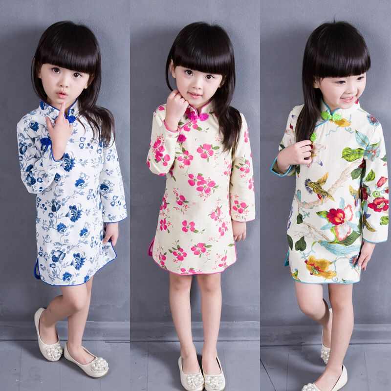 Kids Girls Chinese Tang Suit Princess Long-Sleeved Print New Year Party Dresses