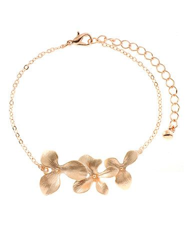 Another great find on #zulily! Rose Gold Blooming Orchids Bracelet #zulilyfinds