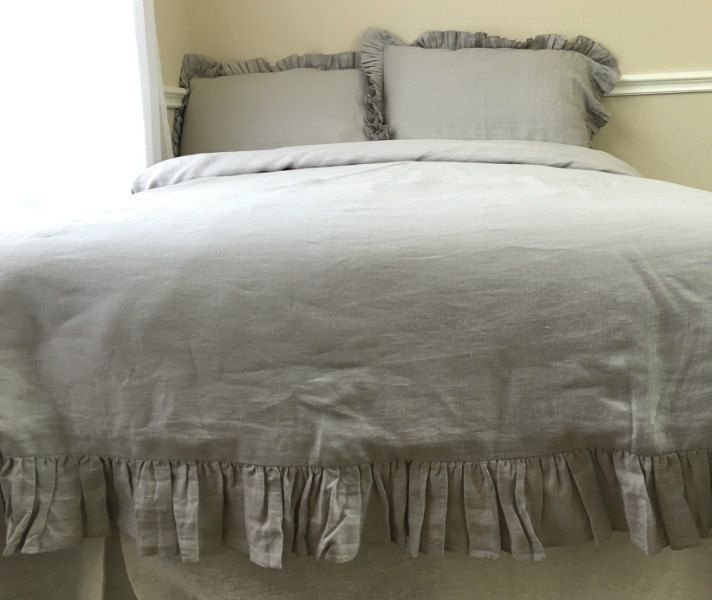 Stone Grey Duvet Cover Features Easy Flow Ruffles Natural Etsy Ruffle Duvet Cover Gray Duvet Cover Duvet Covers