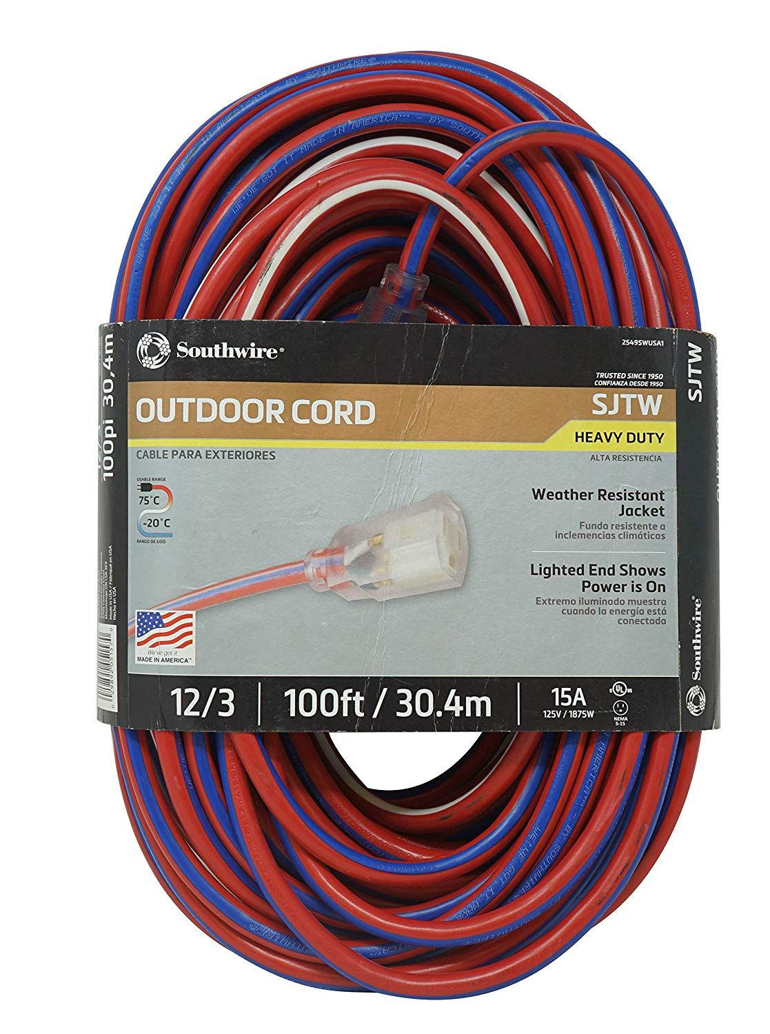 Southwire 2549swusa1 100 Feet Contractor Grade 12 3 Extension Cord With Lighted End Red White And Blue Am Outdoor Extension Cord Contractors Red And White