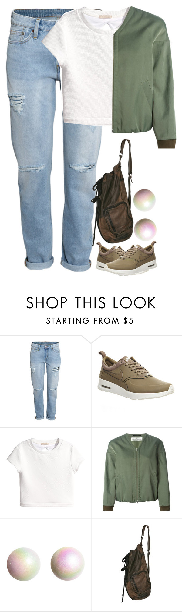"""""""Untitled #209"""" by pastpresentfuture-indiasgem ❤ liked on Polyvore featuring H&M, NIKE and Golden Goose"""