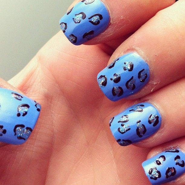 Blue Leopard Print Nails Created Using Primark Blue Models Own