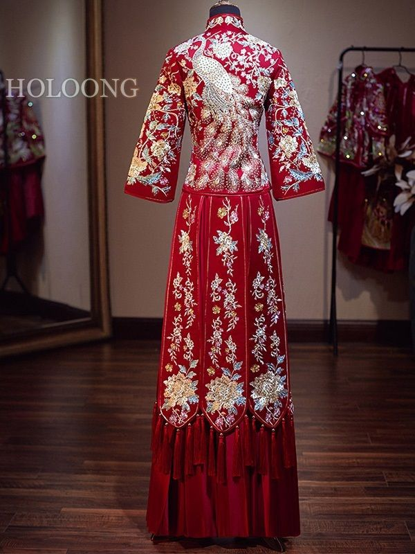8f1695767 Long qipao Marriage Chinese style Xiuhe suits Wedding outfits in ...